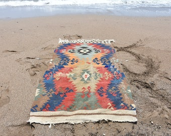 Bohemian Kilim Rug Free Shipping 3.7 ft x 6.2 ft Coastal Kilim Rug Vintage Geometric Patterned Kilim Rug Handmade Boho Kilim Rug No 134