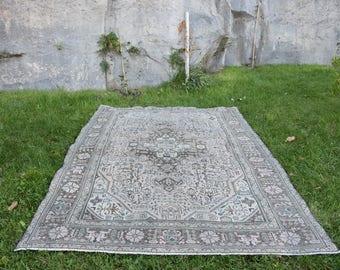 Free Shipping! 6.1x8.9 ft Vintage Rug Turkish Rug Handmade Turkish Rug Turkish Carpet Decorative Rug Floor Rug Handwoven Rug Old Rug H-361e