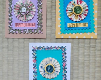 Pack of 3 assorted handmade birthday cards, greeting cards, free shipping