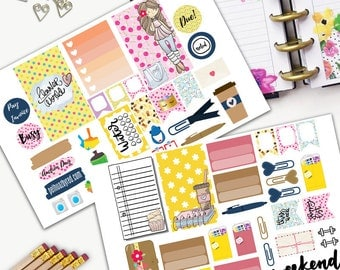 Planner Girl Planner World Theme Planner Weekly Sticker SMALL Kit, CLASSIC Happy Planner Sticker, Weekly Set, Stickers, Printed, Cut, Pink
