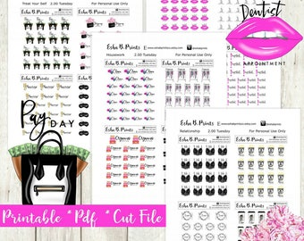 Two Dollar Tuesday glam Essentials Set 1 Printable Planner Stickers/For Use with Erin Condren/Weekly Kit Cutfile September Glam Fall Coffee