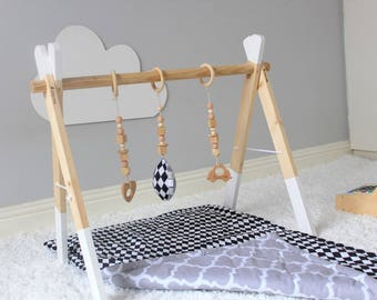Baby Play Gym/ Baby Gym/ Wooden Play Gym - White Frame