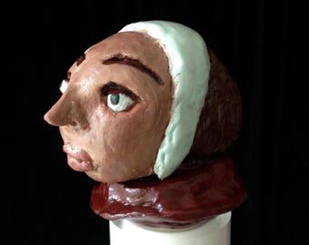 Cork art modeled with a Renaissance Lady head