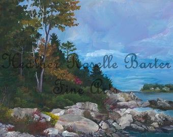 Print of Elm Tree Cove, Peaks Island