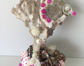 boho coastal sea sponge coral soft statue marina sea shells room decor