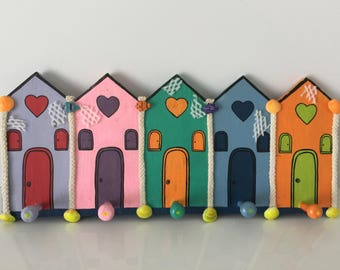 Vintage Coastal cottage hanger for keys from 1990's shabby chic