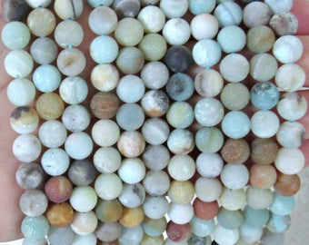 8mm Amazonite beads, full strand, Frosted amazonite beads, Matte amazonite beads, amazonite beads, multicolor amazonite, jewelry supplies
