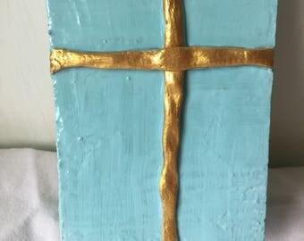 Blue Cross Decor, Cross Art, Cross Painting