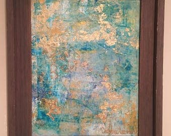 14x11 Blue Abstract, Gold Leaf Painting