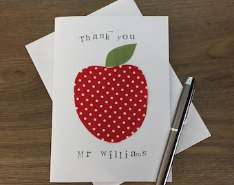 Teacher thank you card - Thanks teacher card - Personalised teacher card - Thank you teacher - Teacher thanks - apple card - fabric card