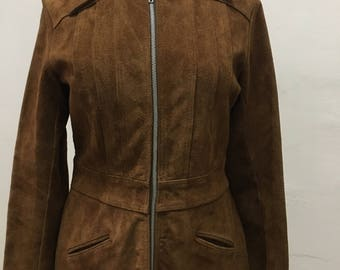 1970's zip up  brown fitted suede jacket