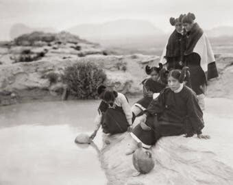 Native American Photo, American Indian, Indigenous Americans, Hopi Water Girls, Black White Photograph, 1906