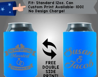 We are Getting Married, Wedding Date - Names Personalized Can Coolers, Custom Collapsible Neoprene Beer Can Coolers, Wedding Favors (W356)