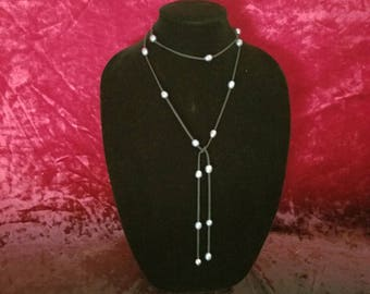 Extra Long Gray Pearl and Black Suede Lariat, Y Necklace, Bracelet - FREE SHIPPING