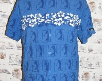 "Size M 40"" vintage 80s beach shirt short sleeve blue golfer/floral print (HD03)"
