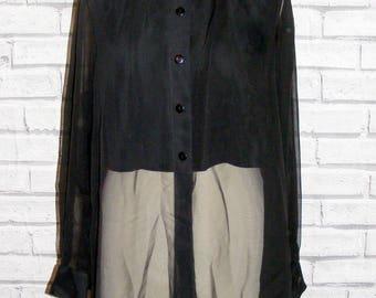 Size 12 vintage 90s long sleeve loose shirt super sheer arms/hem black (IB13)