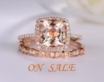 Rose Gold Engagement Ring Cushion Cut Morganite Ring Antique Diamond Wedding Band Women Halo Half Eternity Bridal Set Anniversary Unique