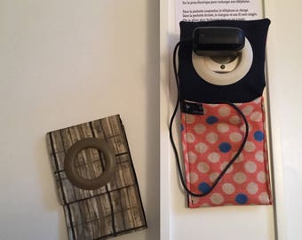cell phone charging station in Japanese fabrics