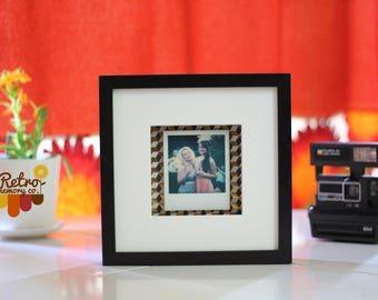 Black geo box personalised Polaroid frame
