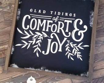 SHIPS in 2-3 DAYS Good Tidings of Comfort and Joy Chalkboard Hand Painted Wood Sign Magnolia Market Christmas Home Decor