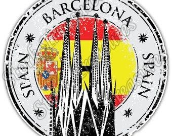 Barcelona Spain Country Flag Stamp Car Bumper Vinyl Sticker Decal