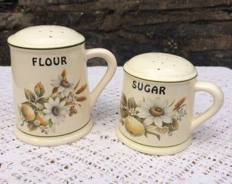 Vintage Brixham Pottery flour & sugar Sifter set