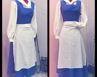 Belle blue dress from The Beauty and the Beast cosplay costume
