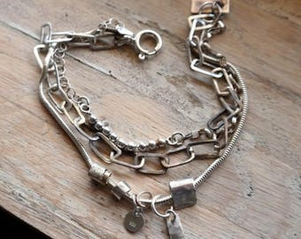 Sterling Silver Bracelet,  Raw Bracelet, Raw Silver, Multi strand Bracelet Silver Chain