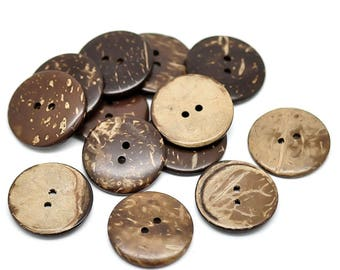 50 coconut wood button coconut buttons Brown, 25 mm