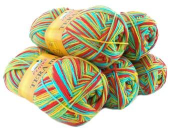 5 x 100 g yarn TERA MULTI, #811 red blue yellow