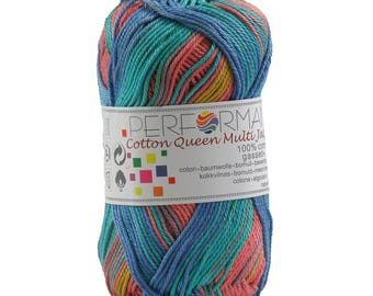 10 x 50g Strickgarn Cotton Queen Multi, #10452 blau-grün-rosa-terrakotta