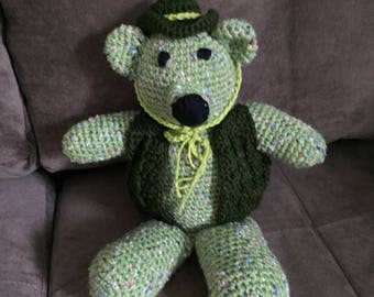 Crocheted Bear Speckled Green yarn with vest and hat.