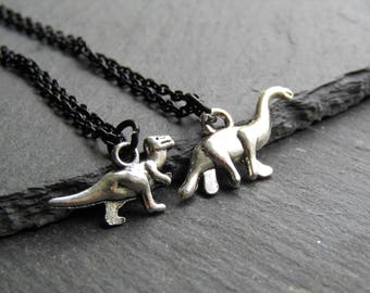 Dinosaur Necklaces with a black Chain, Add a Fossil Bead or a Lava Bead, Dinosaur Necklace, Diplodocus Necklace, Dinosaur Jewellery, T-Rex
