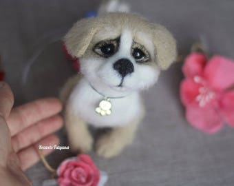 Needle felted puppy dog, felted dog, needle felted animals, exclusive handmade,wool figurine dog, cute puppy, gift, felt ornaments, felt dog