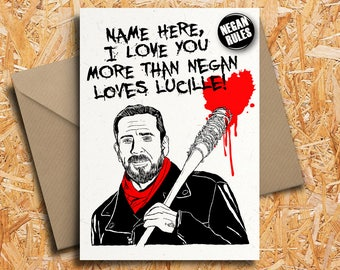 The Walking Dead Negan Personalised Valentineu0027s Day Card With Badge Option,  Carl, Rick Grimes