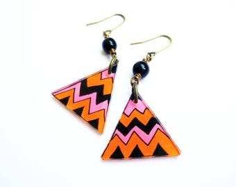 Neon Geometric Dangle Earrings | Triangle Chevron Earrings | Boho Earrings