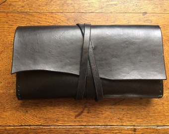 Black Leather Clutch Purse