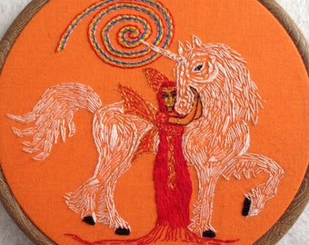 Unicorn, fairy, rainbow, art, wall hanging, hand stitched,Egyptian style, magical, mystical, fairy art, gift, fairy tale art, colourful