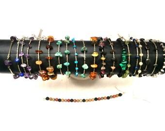 Bracelets Argent - amethyste, lapis , ambre, turquoise, tourmaline, malachite, péridot, perles, azurite, hématite, grenat, quartz rose