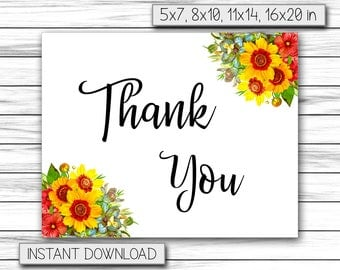 Thank You Card, Greeting Cards, Friendship Cards, Printable Thank You, Birthday Thank You, Thanks Sign, Instant Printable DIGITAL FILE, JPG