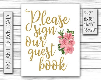 Please Sign Our Guestbook Sign, Wedding Guestbook Sign, Guestbook Board, Printable Wedding Decor, Chalkboard Sign, Printable DIGITAL FILE