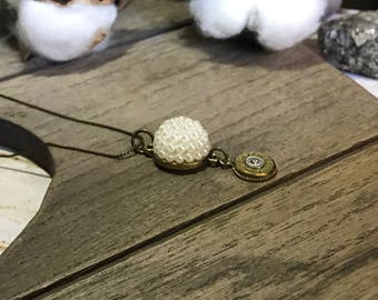 Pearls and Bullets Vintage Drop Necklace