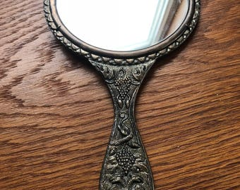 Vintage Handheld mirror with Double-Headed Bird Eagle and grape clusters
