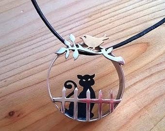 Cat lover jewelry for her, sterling silver black cat/bronze bird pendant, artisan jewelry, one-of-a-kind cat necklace, handcut jewelry