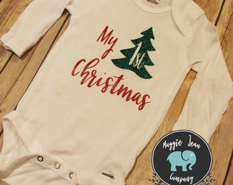 My First Christmas, Onesie, Bodysuit, First Christmas Onesie, Christmas Onesie, Holiday Onesie, Baby Shower Gift, Coming Home Outfit