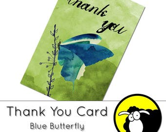 Thank You Cards - Blue Butterfly - Digital download