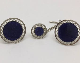 DANTE sodalite silver cufflinks tie tack set #302  cufflinks