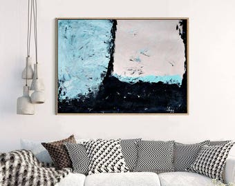 Original Abstract Painting, Original Large Wall Art, Acrylic Painting Modern Decor, Blue Pink Abstract Art, Original Modern Art Color Field