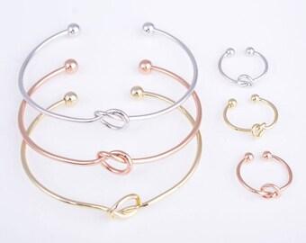 Gold/rose gold/silver knot bracelet, knot bracelet, bridesmaid bracelet, tie the knot bracelet, love knot bracelet, knot bangle bracelet