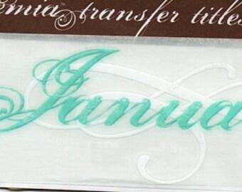 January Title Rub On Transfer Embellishments Cardmaking Crafts My Mind's Eye Bohemia